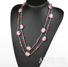 Wholesale 47.2 inches long style pink crystal and colored glaze necklace