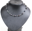 Popular Style Potato Shape Natural Black Freshwater Pearl Necklace With Alloyed Crooked Bar