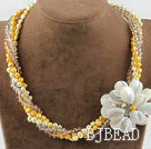 Wholesale Multi Strans Pearl Crystal and White Lip Shell Flower Necklace