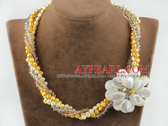 Multi Strans Pearl Crystal and White Lip Shell Flower Necklace
