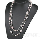 Wholesale 51.2 inches white pearl rose quartze necklace