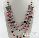 Wholesale red coral black agate butterfly charm necklace with extendable chain