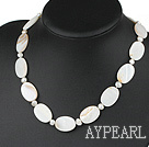 Wholesale favourite white pearl shell necklace with lobster clasp