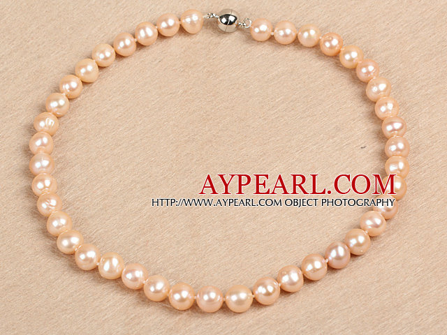 Best Mother Gift Graceful 10-11mm Natural Smooth Pink Pearl Party Necklace