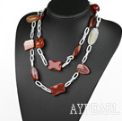 41.7 inches original color agate on bold metal chain