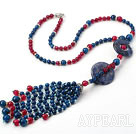 New Style Y Shape Blue and Pink Agate and Sodalite Donut Tassel Necklace with Rhinestone