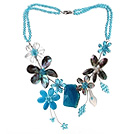 Wholesale 2013 Summer New Design Blue Series Blue Crystal and Abalone Shell Flower and Crystallized Agate Pendant Necklace
