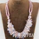 marvelous rose quartze and opal necklace with moonlight clasp