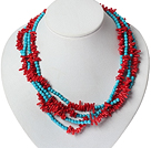 Multi Strands Red Coral och Turkos halsband