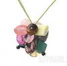 17.7 inches multi color gemstone necklace with extendable chain