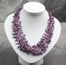 Popular Fashion Multi Layer Amethyst Chips Chunky Necklace With Shell Flower Clasp