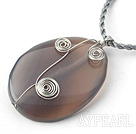 Simple Style Oval Shape gemstone Pendant  Wire Wrapped Necklace with grey Thread( Random colors )