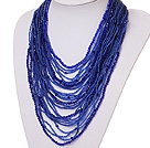 Wholesale beautiful multi strand 2-4mm dark blue manmade crystal necklace
