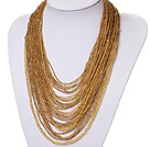 Wholesale admirably multi strand 2-4mm yellow manmade crystal necklace