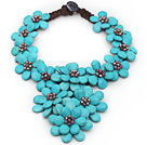Wholesale 2013 Summer New Design Burst Pattern Turquoise Flower Big Style Necklace