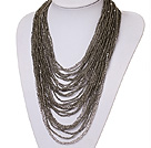 Wholesale hot style vogue multi strand 2-4mm grey manmade crystal necklace
