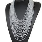 Wholesale stunning multi strand 2-4mm white crystal necklace