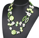 43.3 inches long style white teeth pearl and green shell crystal necklace