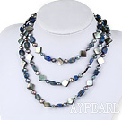51 inches pearl and sodalite long style necklace