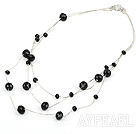 23.6 inches three strand black crystal necklace