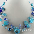 hot new style 17.7 inches blue crystal and shell necklace