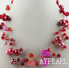 Wholesale hot new style 17.7 inches redcrystal and shell necklace