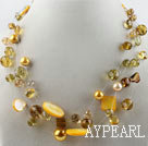 Wholesale hot new style 17.7 inches yellow crystal and shell necklace