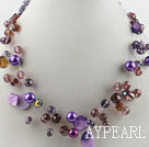 Wholesale hot new style 17.7 inches purple crystal and shell necklace