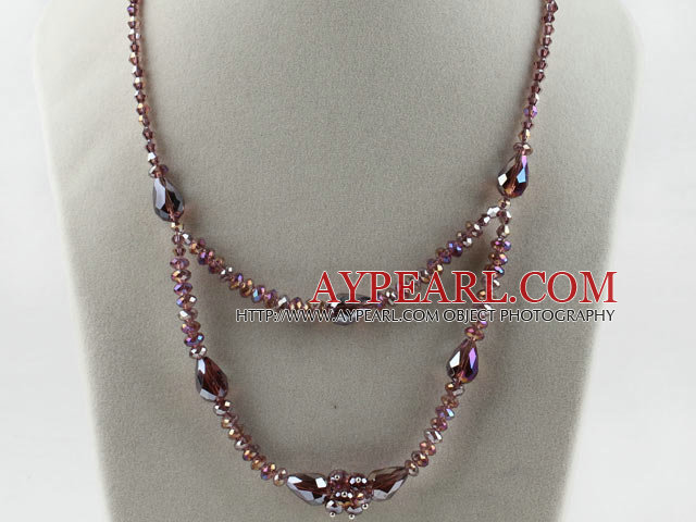 Fashion Layer Style Purple Colorful Czech Crystal Beaded Necklace With Extendable Chain