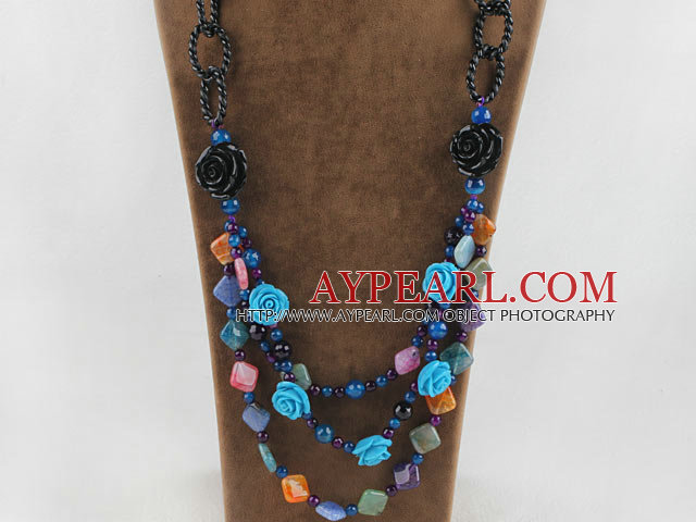 wonderful Persian agate necklace with acrylic flower