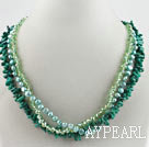 three strand green coral crystal and pearl necklace with moonlight clasp