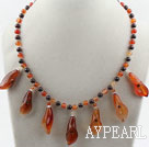 Wholesale New Design Garnet and Agate Flower Necklace