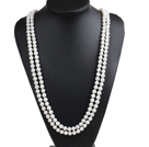 Elegant Mother Gift Long Style Double Strand 8-9mm Natural Near Round White Freshwater Pearl Necklace (Sweater Chain)