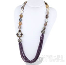Wholesale 27.6 inches purple crystal gray agate rhinestone long necklace