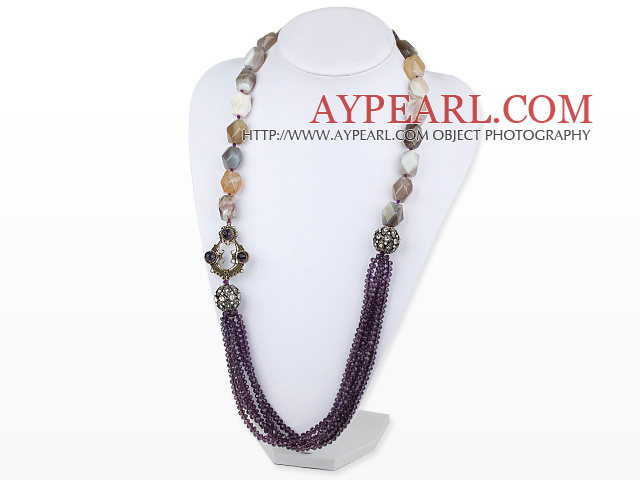 27.6 inches purple crystal gray agate rhinestone long necklace