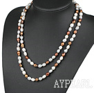 Wholesale fashion long style 47.2 inches 9-10mm baroque pearl necklace