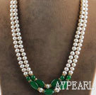 noble double strand white pearl and green jade necklace with gold color clasp