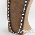 Wholesale 29.5 inches 10-11 mm white and black fresh water pearl necklace