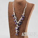 17.5 inches white pearl and amethyst necklace with lobster clasp