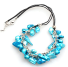 New Arrival Blue Color Teeth Shape Pearl Necklace with Lobster Clasp