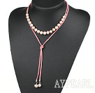 Simple Design Natural Purple Freshwater Pearl Necklace with Pink Cord