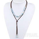 Simple Design Blue Freshwater Pearl Necklace with Brown Cord