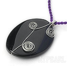 Wholesale Simple Style Oval Shape Gemstone Pendant Wire Wrapped Necklace with Purple Thread( Random colors )