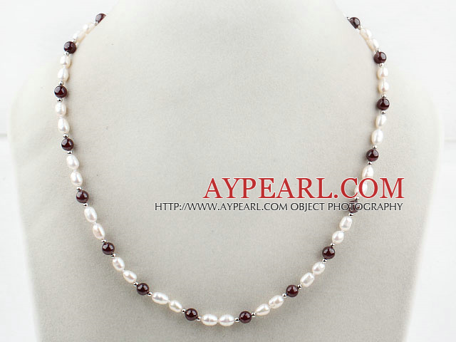 Single Strands White Freshwater Pearl and Garnet Necklace