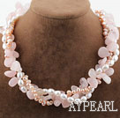 Wholesale Pink Series Three Strands Freshwater Pearl and Rose Quartz Necklace with Moonlight Clasp