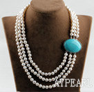 Wholesale sparkly three strand white pearl necklace with turquoise box clasp