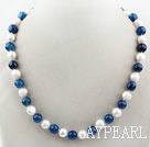 10-11mm Round Freshwater Pearl and Blue Agate Beaded Necklace