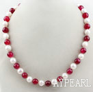 Wholesale 10-11mm Round Freshwater Pearl and Rosy Red Agate Beaded Necklace