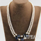 Wholesale noble double strand white pearl and sodalite necklace with gold color clasp