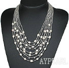 wedding jewelry multi strand white pearl lampwork glass beads necklace